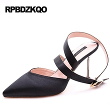 High Heels Size 4 34 Evening Pointed Toe 2017 Sandals Ladies Satin Dress Shoes Slingback Cross Strap Pumps Black Small Stiletto(China)