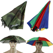 2 Color Umbrella Hat Sun Shade Camping Fishing Hiking Festivals Outdoor Brolly Sun Protection Rain Umbrella