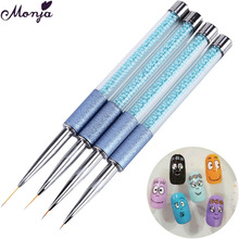 5/7/12/15mm Nail Art Metal Scrub Pearl Liner Paint Brush with Cap Gel Polish Tip Flower Grid Geometry French Smile Line Draw Pen