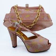 Excellent high heel pumps and bag set for party African shoes with handbag multi color CP63009 peach, heel 11cm