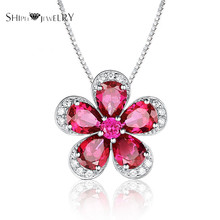 Brand Jewelry SHIPEI Women's Flower Pendant Necklace In Plated White Gold with Top Imitation Diamonds,Carat Total Weight 2.7(China)
