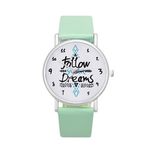 Women's Watches Casual Watches Clock PU  Leather Follow Dreams Words Pattern Watch Women Ladies Quartz Wristwatches Montre Femme