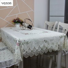 vezon Elegant Satin Cross-stitch Embroidery Tablecloth Lace Embroidered Table Linen Cloth Cover Overlays Home Decor Textile(China)