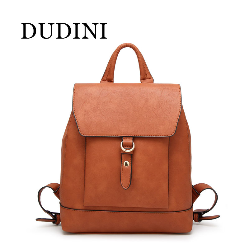 DUDINI Fashion Backpack Women Leather Bag Women Bag Cow Leather Women Backpack Mochila Feminina School Bags Red / Brown / Black <br>