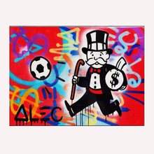 hand painted oil painting Soccer fan Alec Monopoly arts poster Canvas painting Living Room decoration Street art Richie Rich