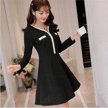 Hurry buy it!!!Fashion Dress For women clothing Elegant black dresses sexy v-neck long sleeve All-Match Bodycon Dress