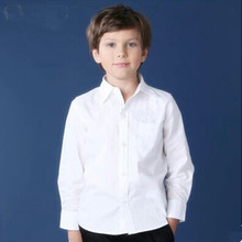 New style boy shirt white baby boys clothes dress shirt long sleeve top school children blouse