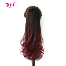 Deyngs Ombre 24inch Long Drawstring Ponytail Hair Extension Natural Wave Synthetic Women Pony Tail Hairpiece Clip In Hair Tress(China)