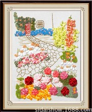 Flower garden Ribbon embroidery sets painting handcraft cross stitch kits DIY handmade needlework wall art decor gift idea