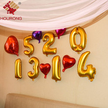 Hourong 1pc Birthday Party Balloons Aluminium Foil Number Balloon Wedding party Balloon Festival Supllies