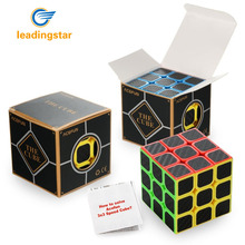 LeadingStar 3x3x3 Carbon Fiber Colored Stickers Magic Cube + Black Packing Box Brain Teaser Puzzle Cube Gift for Kids Adult zk35