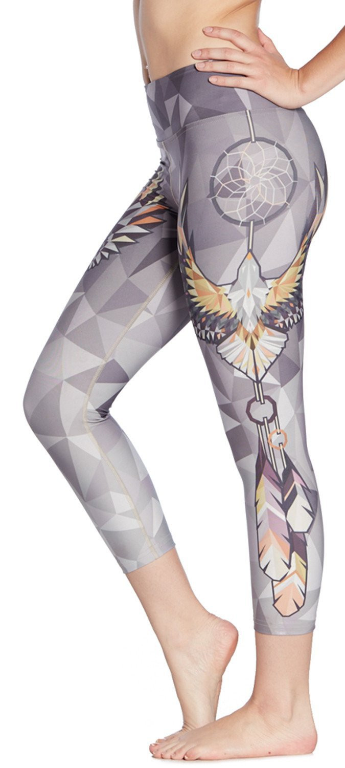 2017 New Women Eagle Dreamcatcher Print Fitness Quick Dry Workout Leggings Knee Length Aerobic Exercise Pants