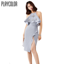 PLAYCOLOR Customize Girl Cocktail Dresses Sleeveless Scoop Neck Prom Dress Hand Beading Design Woman Sexy Party Dress _PD1607T26