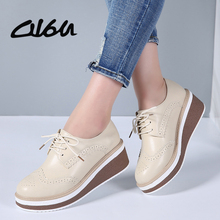 O16U 2018 Women Brogue Platform Shoes Genuine Leather Lace up Flats Women Creepers Thick Heels Soled Oxfords Shoes Flat Autumn(China)