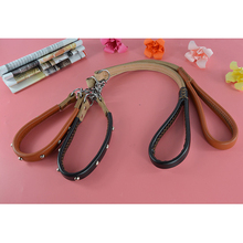 High Quality Brand Cowhide Leather Pet Necklace Studded Round Nail Pet Dog Collar and Short Leash Lead Set