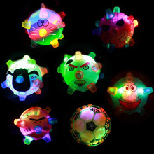 2017 Cartoon LED Flashing Music Dancing Ball Cute Football Bouncing Jumping Ball Kids Party Gift Toys Party Favors