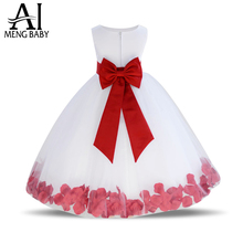 2017 Baby Girl Princess Dresses Bow Kids Clothes Wedding Dress For Birthday Party Christmas Kids Toddler Clothing Children wear