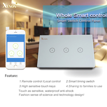 Manufacturer Xenon Wall Switch Work with Amazon Alexa Smart Wi-Fi Switch Glass Panel 3 gang US Touch Light Switch panel(China)