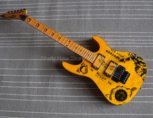 Shelly new store factory custom yellow kirk hammett Ouijia electric guitar ESP floydrose tremolo guitar musical instruments shop
