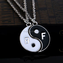 White and Black Cheap Rhinestone Fashion Jewelry Best Friends Ying Yang Necklaces Two Bagua Charm Pendant Necklace For Men