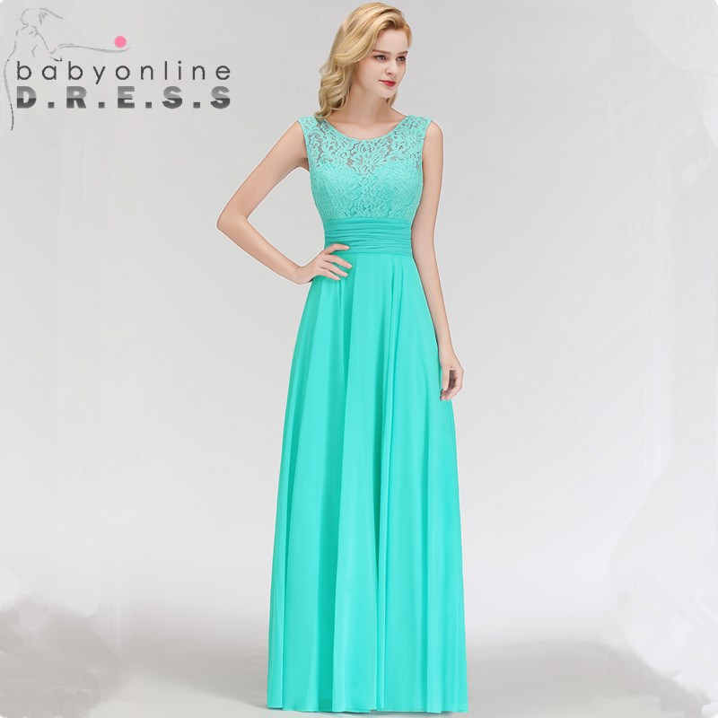 Sexy V Back O Neck Lace Evening Dresses  Sexy Sleeveless Long Chiffion A Line Evening Gown 34 Colors Custom Make