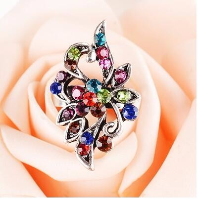 Flower ring among Color Crystal Peacock Ring