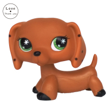 LPS DACHSHUND dog rare brown sausage dog with green eyes animal toys