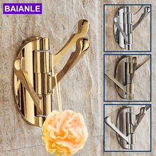 Wall Mounted Classic Europe Design Gold/Antique Solid Metal Swing Arm Triple Robe Hook Hangers Brushed Chrome Finish