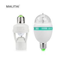 DIY Smart Motion Sensor Auto Rotation RGB LED lamp Bulb E27 3W Stage light 110V-220V With Infrared Induction PIR Swith Holder(China)