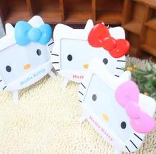 1 Pcs Hello Kitty Cartoon Photo Frame Home Decor Wooden Wedding Couple Children Baby Pictures Frames Table decoration Kids Gift(China)