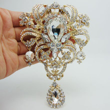 Fashion Style Flower Drop Pendant Brooch Pin Clear Rhinestone Crystal(China)