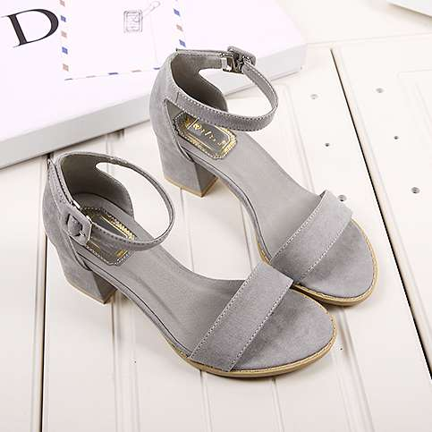 Sude Sandals New Womens Girls Suede Velvet Square Heels Open Toe Ankle Strap Wedges Shoes<br>