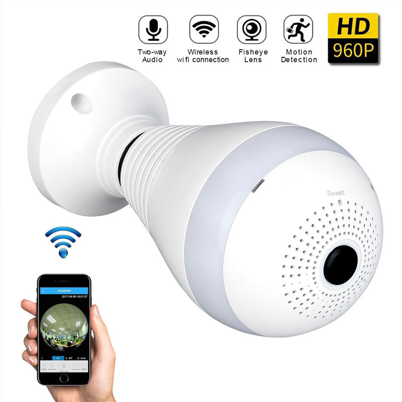 960P 360 Degree Panoramic Led E27 Bulb Light Smart Wireless Phone APP Control CCTV 3D VR Camera WiFi FishEye Lamp Home Security<br>