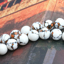 "Round white Tiger skin Turkey Stone 10mm loose beads DIY 15"" exquisite women jewerly making ornaments(China)"