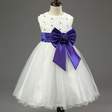Free Shipping 2017 new summer girl pearl bow dress Baby roses princess flower girl dress  5 color