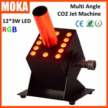 1 Pcs12*3w led co2 jet machine dmx co2 jet led rgb led dmx 512 co2 column jet cryo fogger stage effect blast dj machine(China)