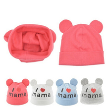 Spring Autumn Baby Cap Knitted Warm Cotton Beanie Hat For Toddler Baby Kids Girl Boy I LOVE MAMA Print Baby Hats(China)