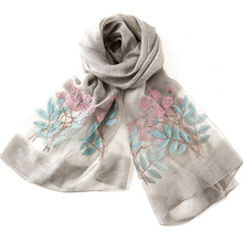 REALBY 190*80cm Woman Floral Silk Scarf Fashion Exquisite Embroidery Mulberry Silk Anti-static Anti-UV Soft Bandana W6025(China)