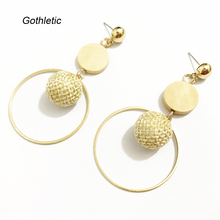 Gothletic Crochet Ball Drop Earrings Wood Disc Bead Dangling Earrings Brass Circle Earrings for Women Brincos Summer Jewelry(China)