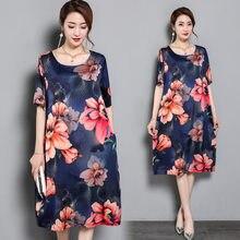 Women Short sleeve O-Neck Dress Plus Size Summer printing Pattern Female Loose  Batwing Casual 628bcb51656b