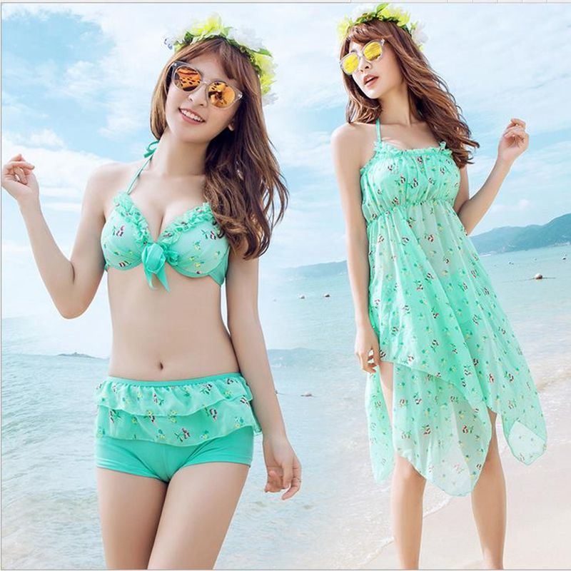 new desigh 2017 Young girl skirt bikini swimwear three Pieces Suits sweet women bathing suit sexy stripe swimsuit Asian style<br><br>Aliexpress