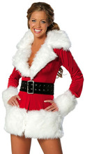 Free Shipping Adult Sexy Ladies Mrs. Santa Deluxe Party Dress Christmas Fancy Dress Outfit