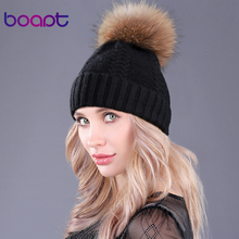 [boapt] Winter Genuine Natural Real Raccoon Fur Caps Female Beanies Wool Rabbit Knitted Hats Pompon Headgear Skullies For Girls(China)