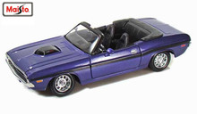 Maisto 1:24 1970 Dodge Challenger R/T Convertible Purple Diecast Model Car Toy New In Box Free Shipping