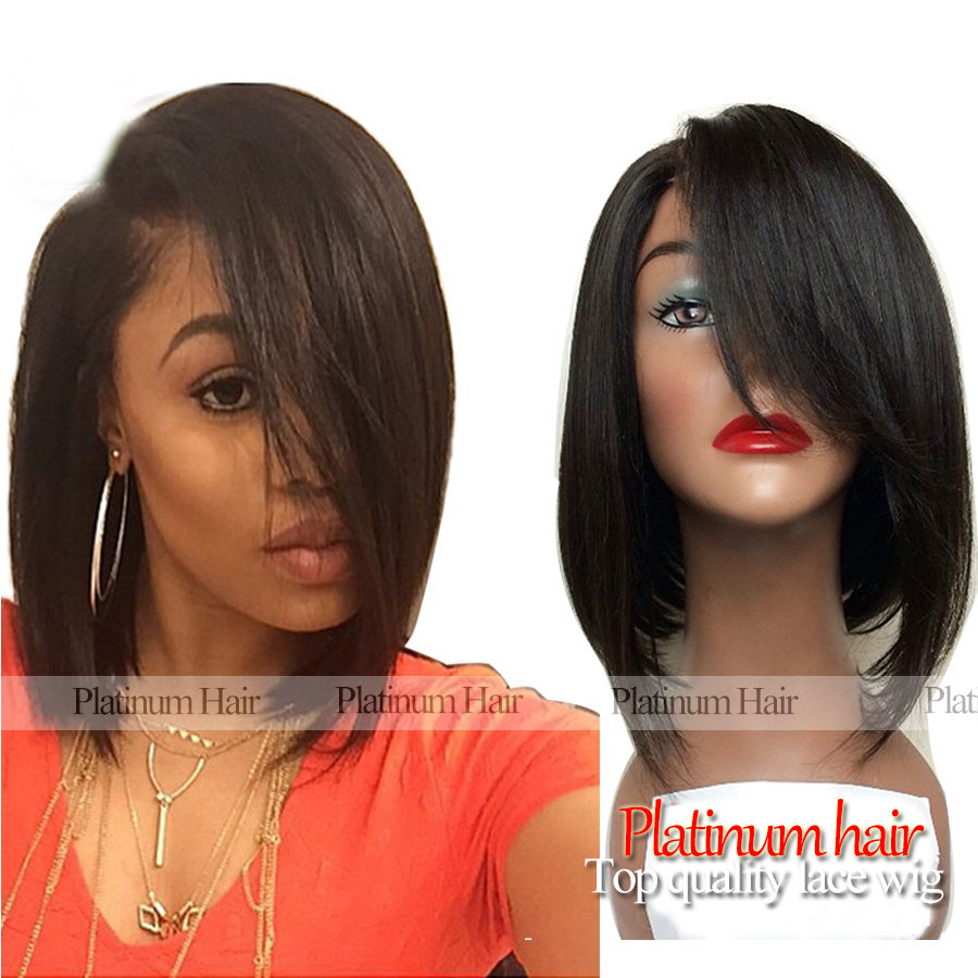 Bob Wigs Silky Straight Short Cut Synthetic Wigs With Bangs Natural Black Smooth Straight Synthetic Lace Front Wig Stock<br><br>Aliexpress