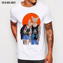 Newest Fashion Cool Hipster Sphinx Cat Printed T-Shirt Summer Trendy Mens Tattoo Cat Design Short Sleeve Tee Tops Clothing(China)