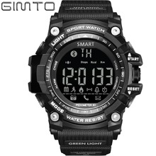 GIMTO Bluetooth Pedometer Calories Distance Remote Camera Men Sports Watch Hand Clock Running Military Shock LED Wristwatches(China)