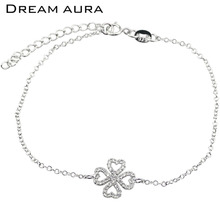Fashion Four Leaf Clovers Bracelet Sterling Silver 925 Jewelry Cuff Bracelets For Women 2016 Gift Friendship Pulseras Pulseira(China)