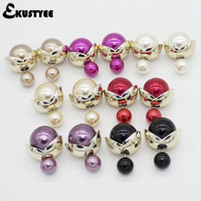 7 pairs/lot Mix Colors Cheap Double Pearl Earrings for Women Fashion Jewelry EKUSTYEE Brand