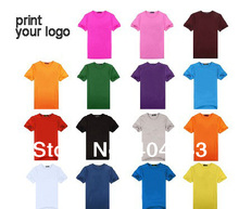 Mini wholesale 50pcs !50%-60% discount shipping cost!print logo shirts,custom logo T shirts,print logo(China)